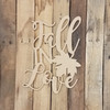 Fall in Love Shape Phrase Unfinished Wooden Word