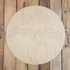 Hello Pumpkin Fall Decor Circle, Wooden Shape, Paint by Line