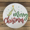 Merry Christmas Tree Decor Circle, Wood Cutout, Shape, Paint by Line