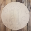 Happy Easter Bunny Ears Circle,  Wood Cutout, Shape, Paint by Line