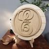 Script Monogram Unfinished Circle Easel Kit, Engraved DIY Craft Decor Set