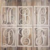 Cursive Rectangle Framed Monogram Letter Wooden Unfinished DIY Craft