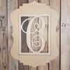 Cursive Monogram Insert Frame, Unfinished Wooden 2 Piece Set