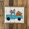 Antique Easter Bunny Truck on Beaded Board, Unfinished Wood Shape