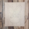 Easter Bunny Head Beaded Board Plaque,  Wooden Cutout, Paint by Line