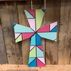 Cross 13 Mosaic Design Stained Glass Wood Shape, Paint by Line