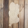 Gnome Running with Easter Egg Wood Cutout, Shape, Paint by Line