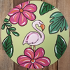 Flamingo and Flowers Circle, Unfinished Shape, Paint by Line