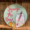 Squeeze the Day Lemonade Circle, Unfinished Shape, Paint by Line