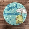 Sweet Summer Time Circle, Unfinished Shape, Paint by Line