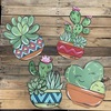 Succulent Plant in Pot, Wall Art, Wood Cutout, Paint by Line