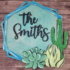 Succulent Boho Name Kit, Custom Personalized Wooden Family Name Sign WS