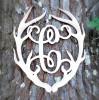 Antler Monogram Framed Letter Wooden Unfinished Craft-C