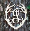 Antler Monogram Framed Letter Wooden Unfinished Craft-I
