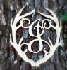 Antler Monogram Framed Letter Wooden Unfinished Craft-J