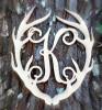 Antler Monogram Framed Letter Wooden Unfinished Craft-K