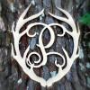 Antler Monogram Framed Letter Wooden Unfinished Craft-P