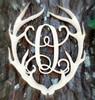 Antler Monogram Framed Letter Wooden Unfinished Craft-Q