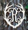 Antler Monogram Framed Letter Wooden Unfinished Craft-R