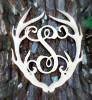 Antler Monogram Framed Letter Wooden Unfinished Craft-S