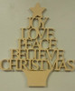 Wooden Christmas Tree with Words, Wood Christmas Tree Craft