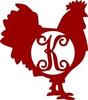 Monogram Letter, Rooster Wooden - Unfinished  DIY Craft