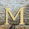 Unfinished wooden letter M