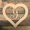 Heart Framed Monogram Letter Unfinished DIY Craft