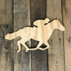 Wooden Pine Shape, Horse Rider, Unpainted Wood Cutout Craft
