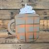 Latte Mug, Craft Unfinished Wood Shape, Wood Cutout