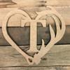 Antler Hook Framed Letter Wooden Unfinished  DIY Craft