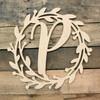 Cursive Monogram Letter Wreath,  Unfinished DIY Craft