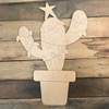 Christmas Cactus, Unfinished Wood Cutout, Paint by Line