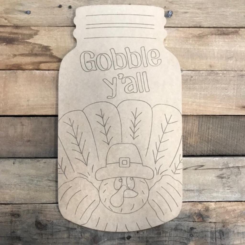 Gobble Mason Jar, Wood Cutout, Shape, Paint by Line