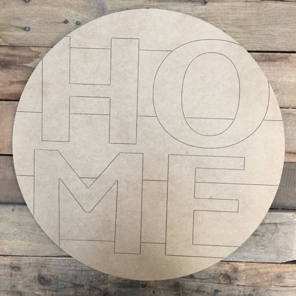 Home Circle, Wood Cutout, Shape, Paint by Line