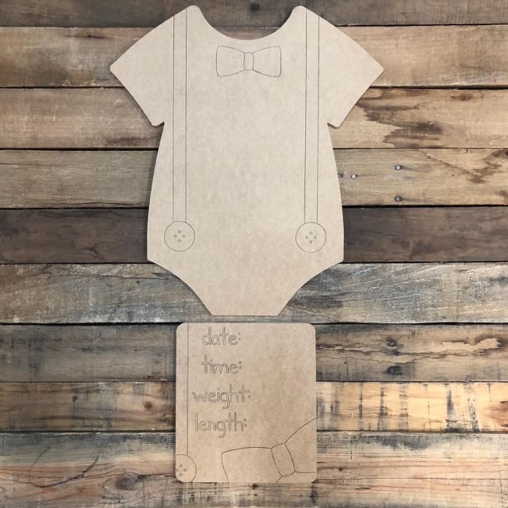 Onesie Baby Announcement, Door Hanger Paint by Line