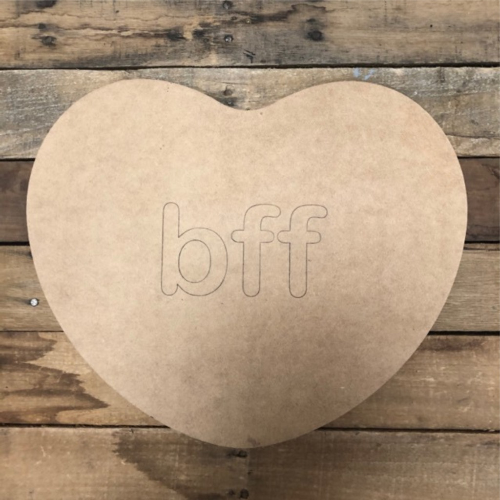 Valentine Heart Bff Cutout, Unfinished Shape, Paint by Line
