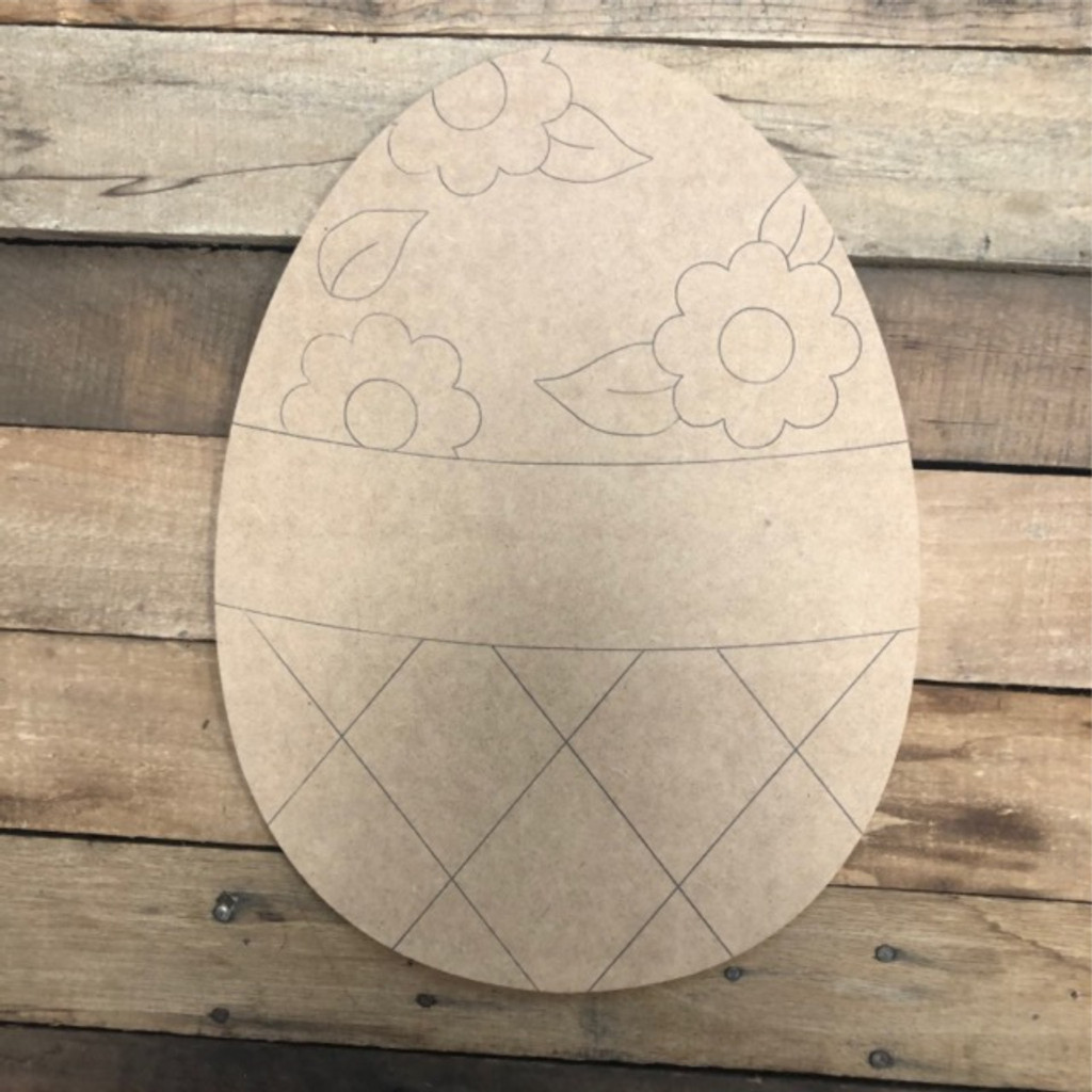 Flowers and Banner Easter Egg Wood Cutout, Shape, Paint by Line