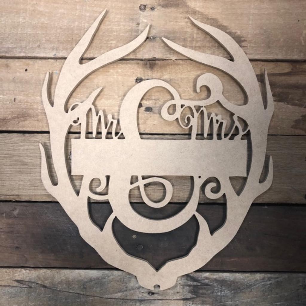 Mr & Mrs. Blank Antler 2 Frame Wooden - Unfinished  DIY Craft
