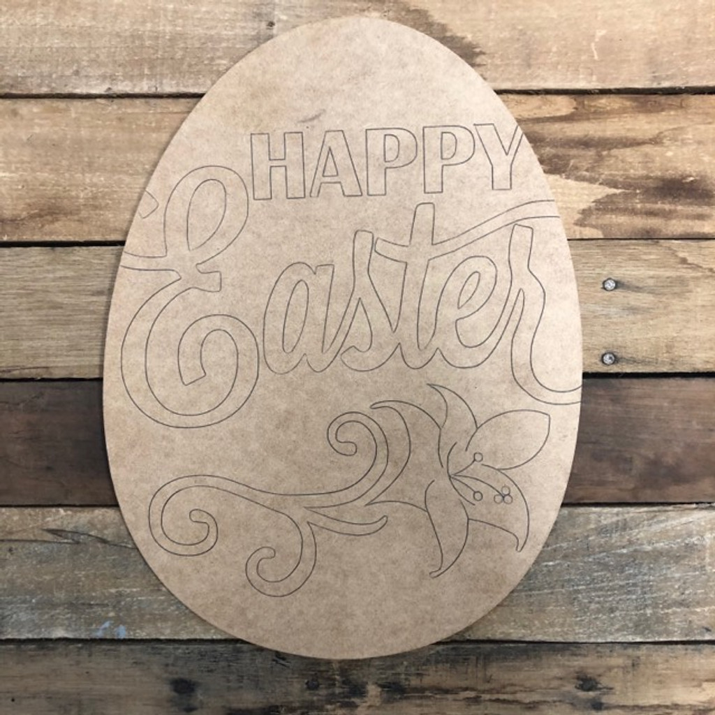 Happy Easter Egg,  Wood Cutout, Shape, Paint by Line