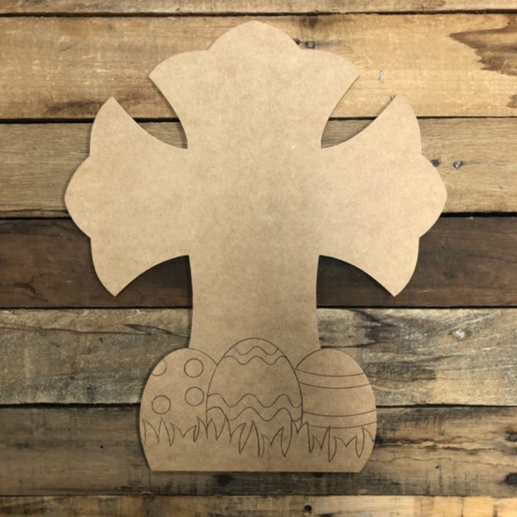 Easter Cross with Eggs Cutout, Unfinished Wall Decor Paint by Line