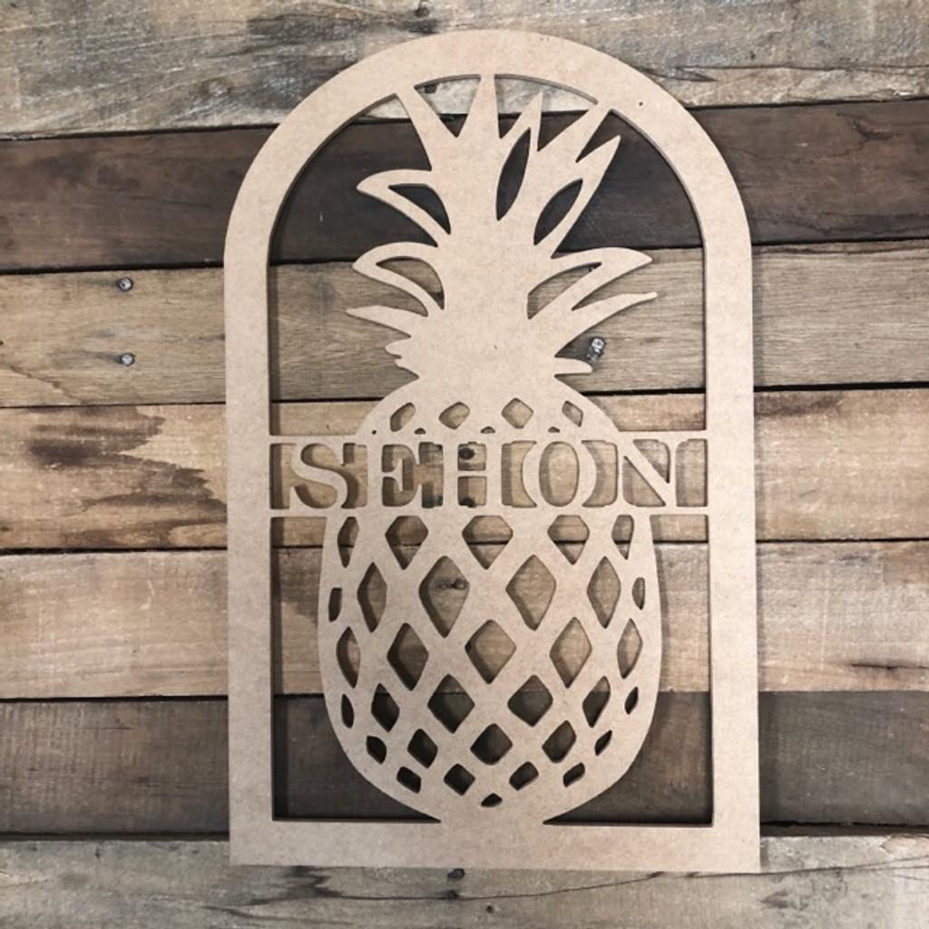 Pineapple Frame Family Name, Unfinished Framed Monogram