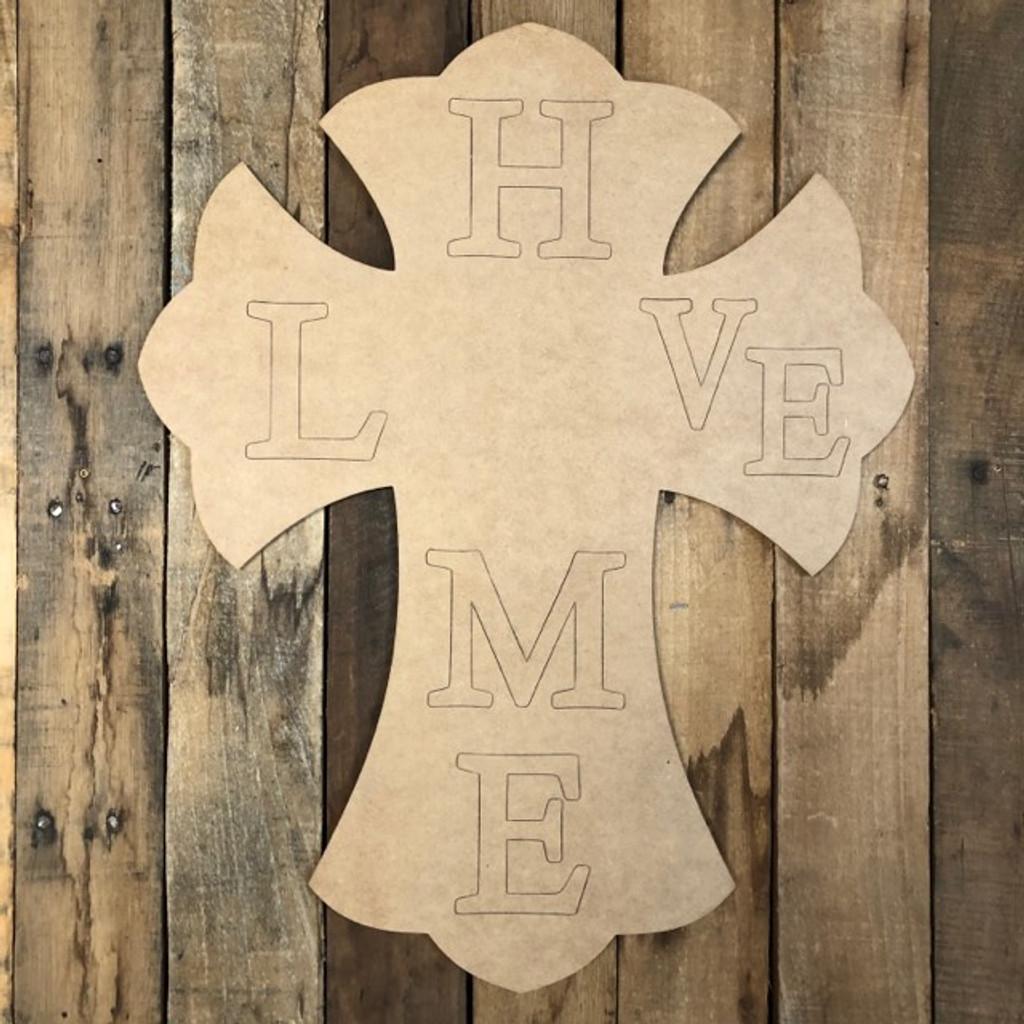 Home Cross for Seasonal Kit Wood Cutout, Shape, Paint by Line