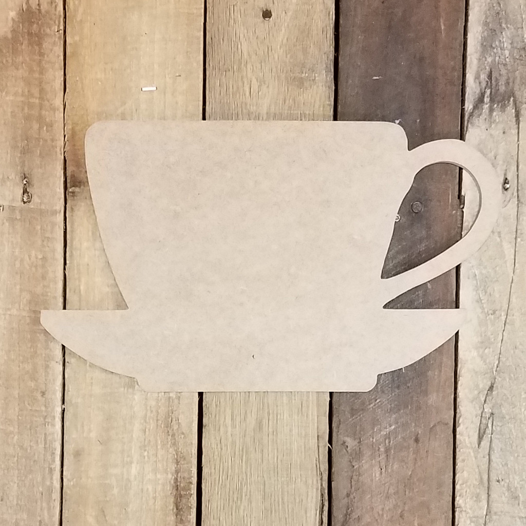 Tea Cup Wooden Shape, Paintable Wooden MDF