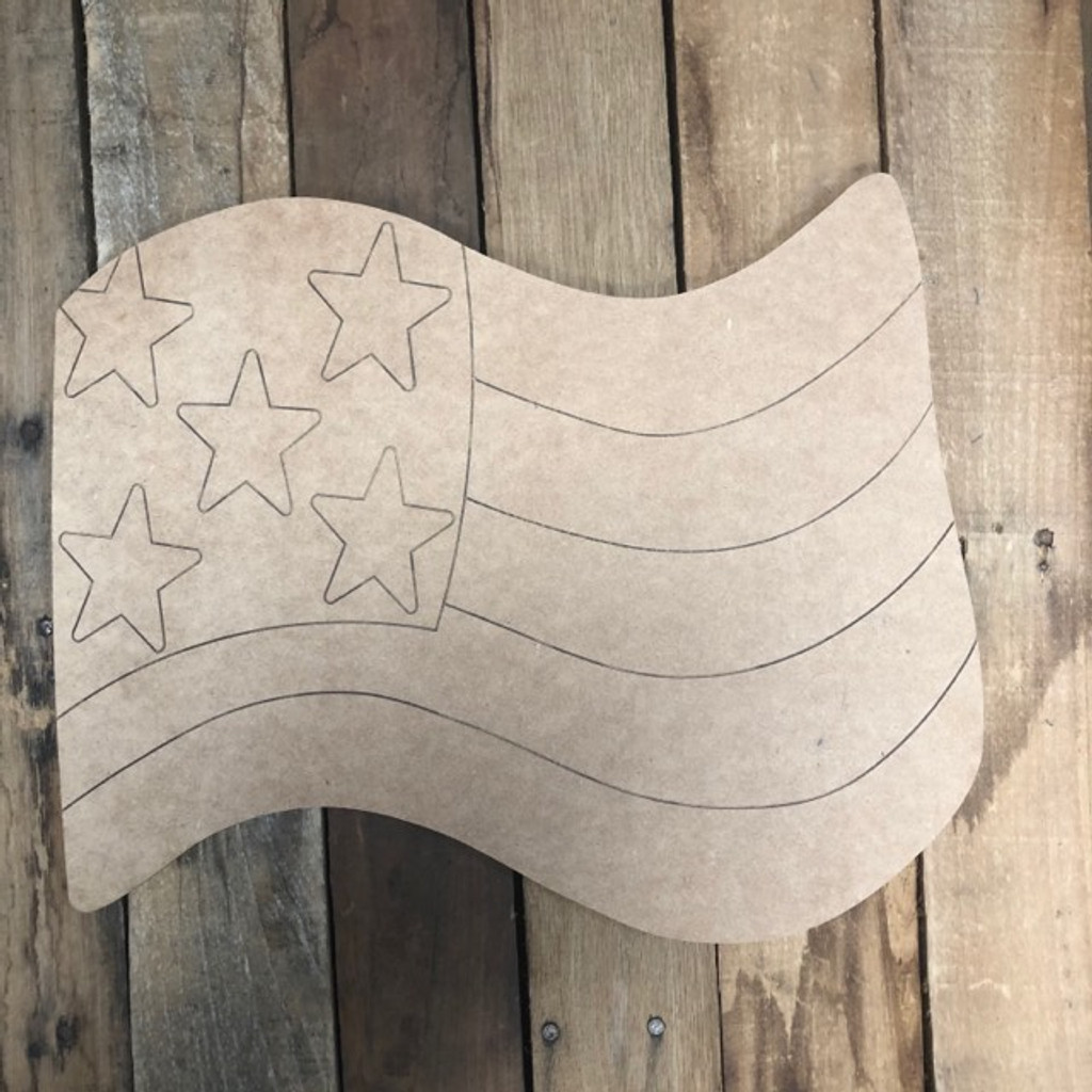 American Flag Shape, Wood Cutout, Paint by Line