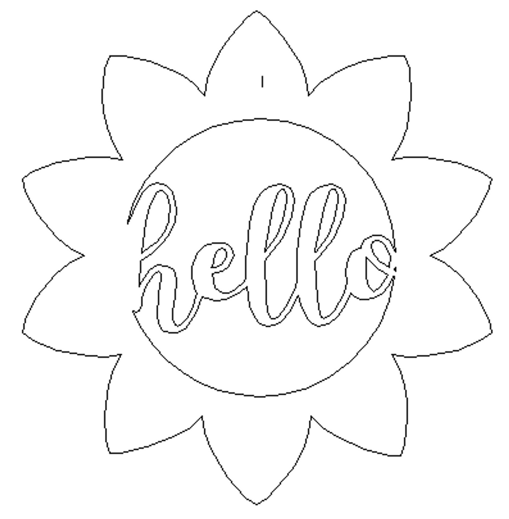 Hello Sunflower Wooden (MDF) Cutout - Unfinished  DIY Craft