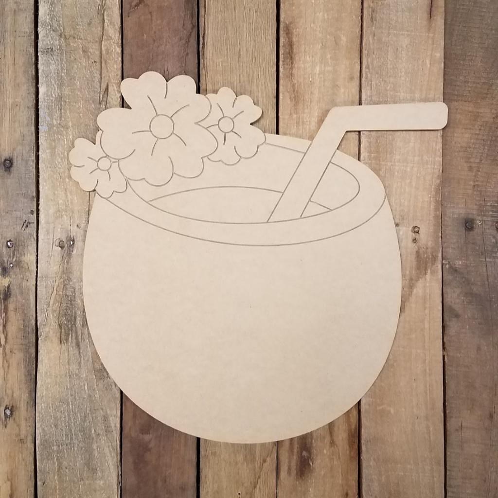 Tropical Coconut Hawaiian Drink Cutout Wood Shape, Paint by Line