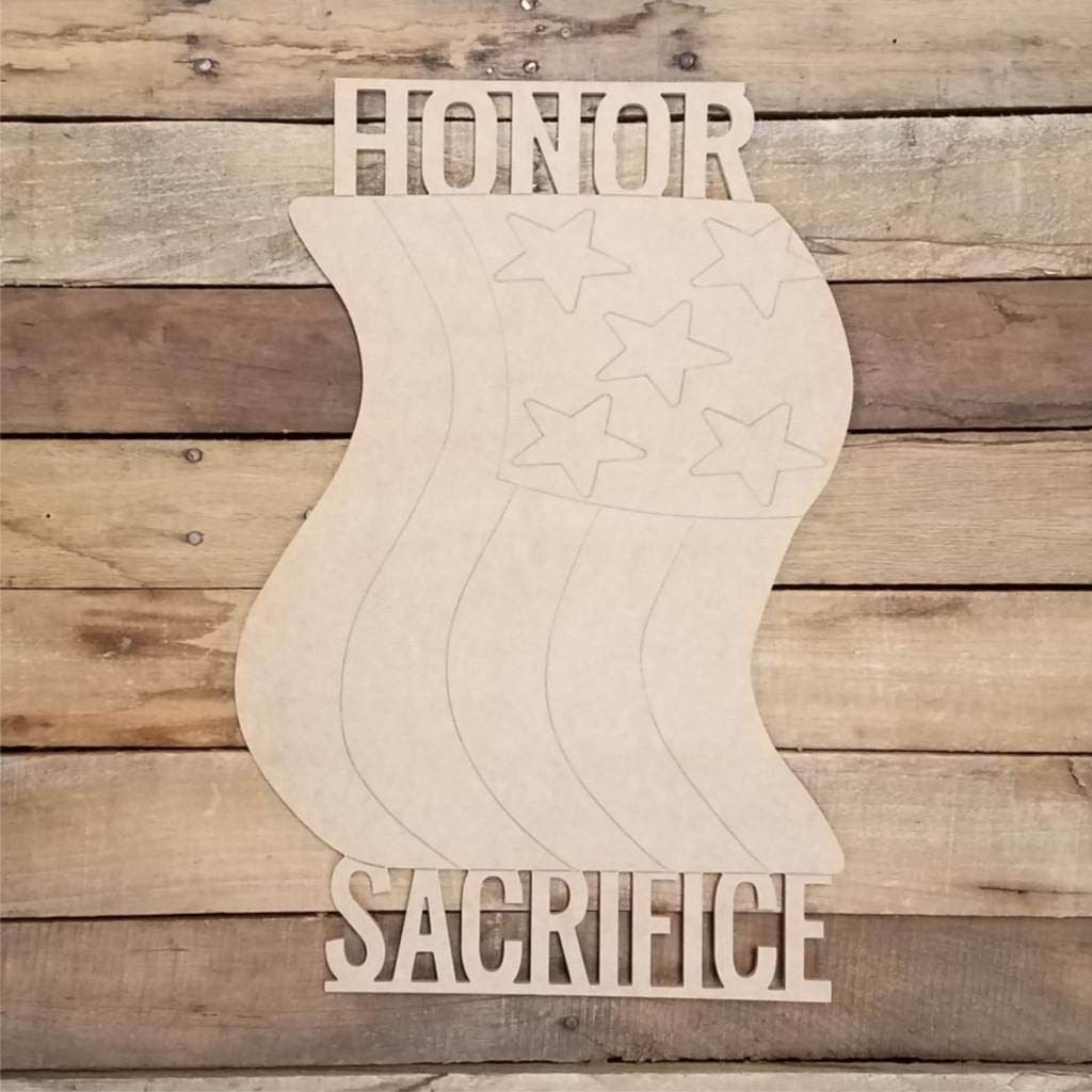 Honor Sacrifice Flag Shape Cutout, Shape Phrase Paint by Line