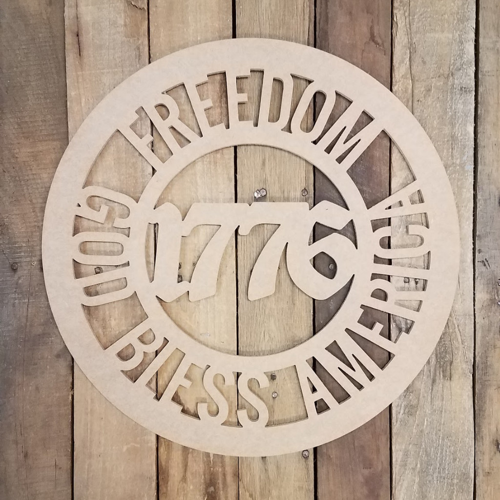 Freedom Circle God Bless America Unfinished DIY Art Craft Shape