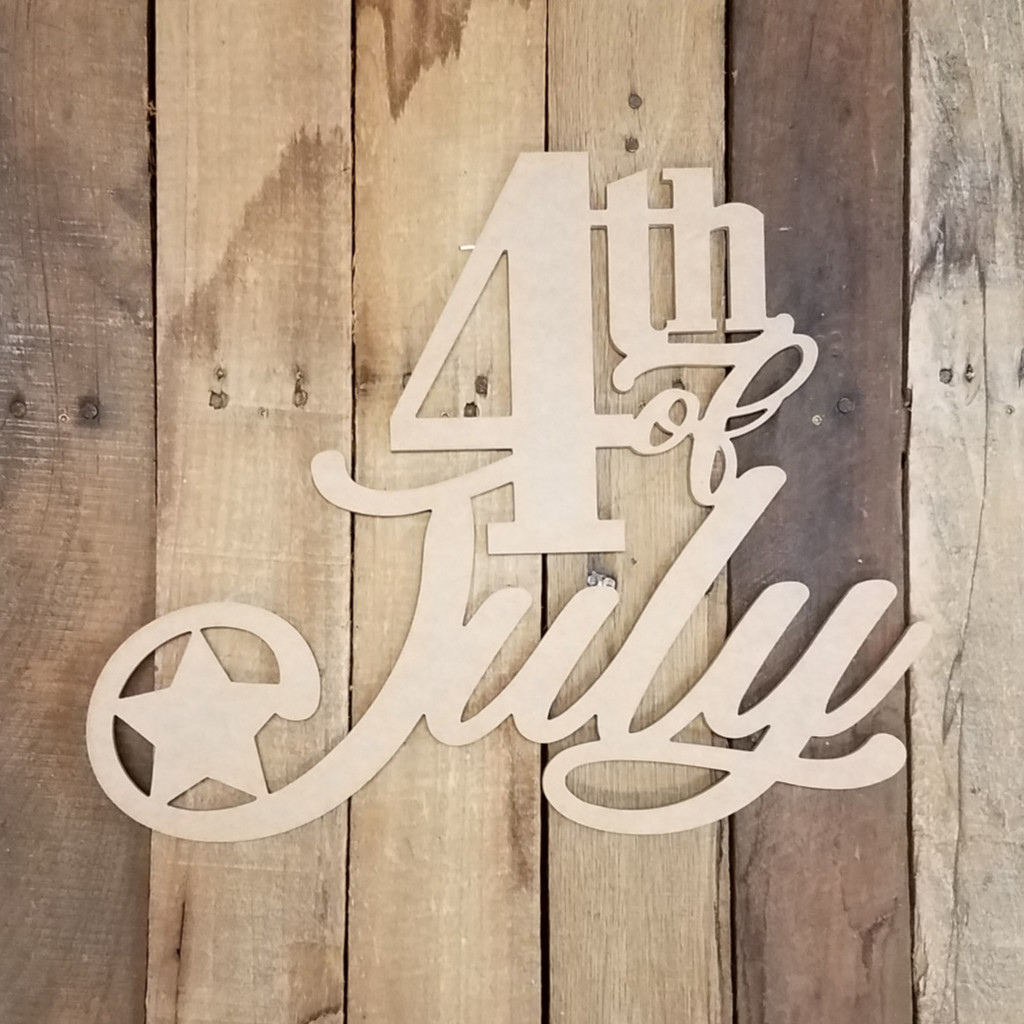 4th of July Shape Phrase Patriotic Decor Art Craft Cutout